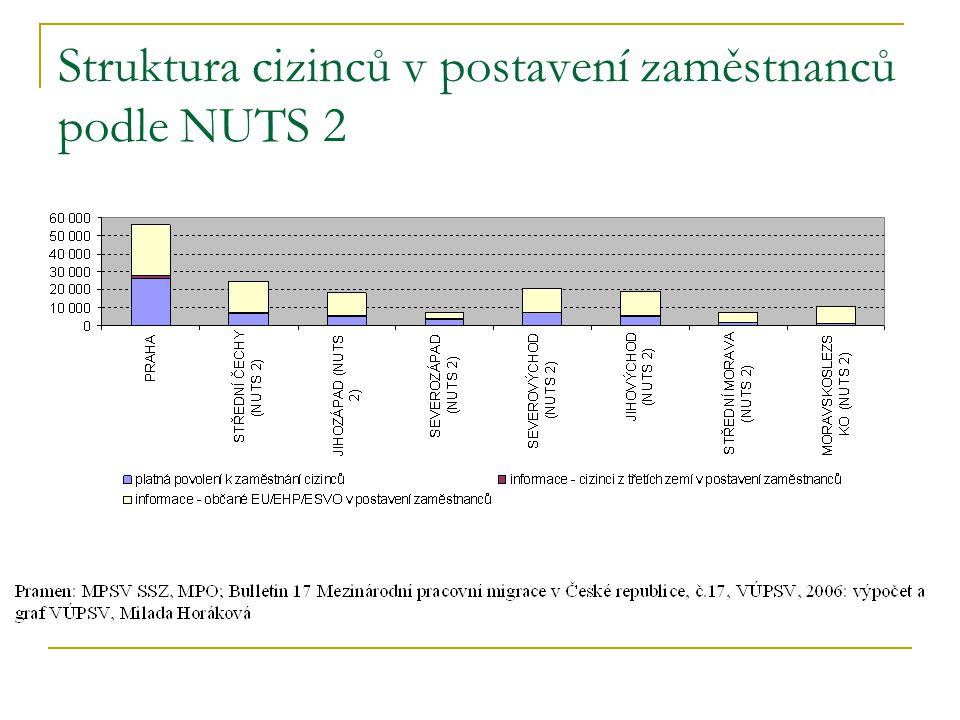 Struktura cizinců v postavení zaměstnanců podle NUTS 2