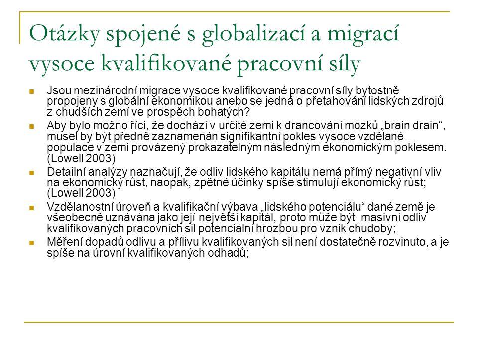 Otázky spojené s globalizací a migrací vysoce kvalifikované pracovní síly Jsou mezinárodní migrace vysoce kvalifikované pracovní síly bytostně propojeny s globální ekonomikou anebo se jedná o přetahování lidských zdrojů z chudších zemí ve prospěch bohatých.