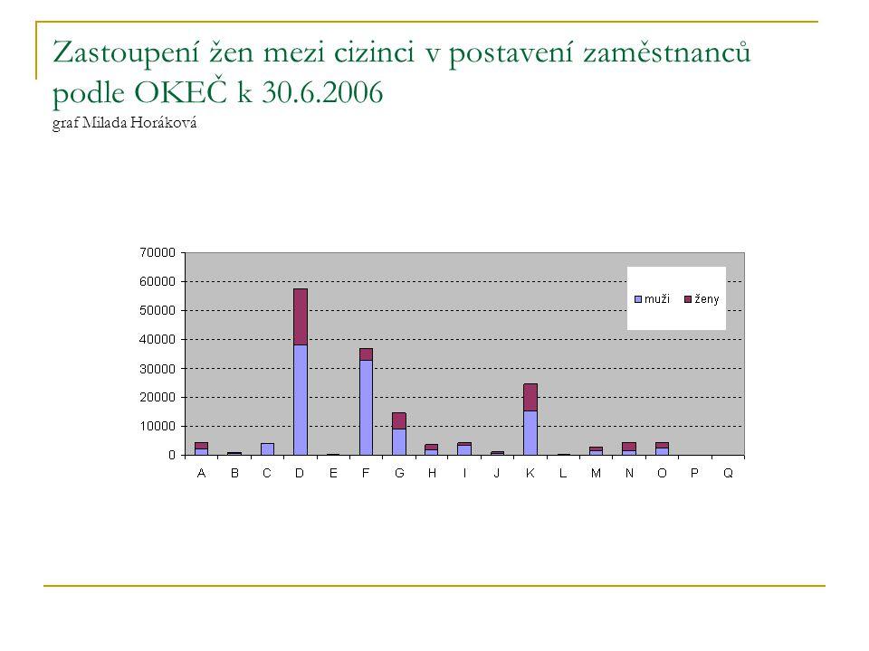Zastoupení žen mezi cizinci v postavení zaměstnanců podle OKEČ k 30.6.2006 graf Milada Horáková