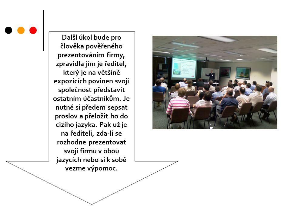 Další úkol bude pro člověka pověřeného prezentováním firmy, zpravidla jím je ředitel, který je na většině expozicích povinen svoji společnost představit ostatním účastníkům.