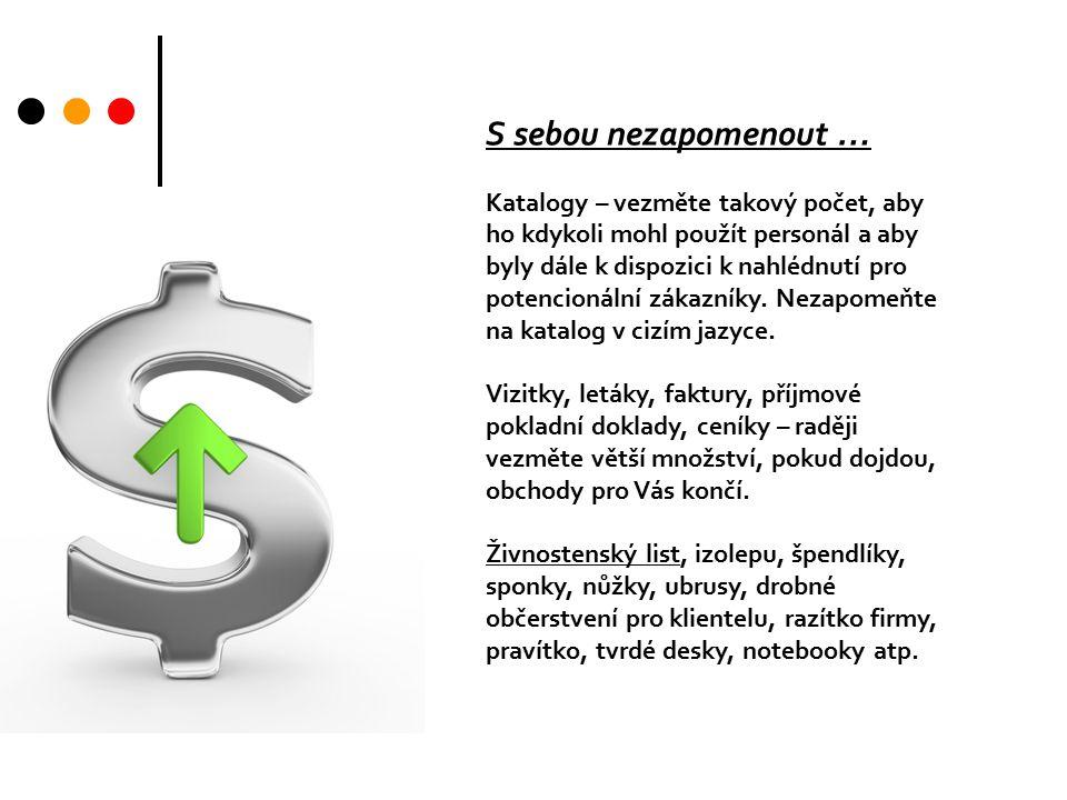 S sebou nezapomenout … Katalogy – vezměte takový počet, aby ho kdykoli mohl použít personál a aby byly dále k dispozici k nahlédnutí pro potencionální zákazníky.