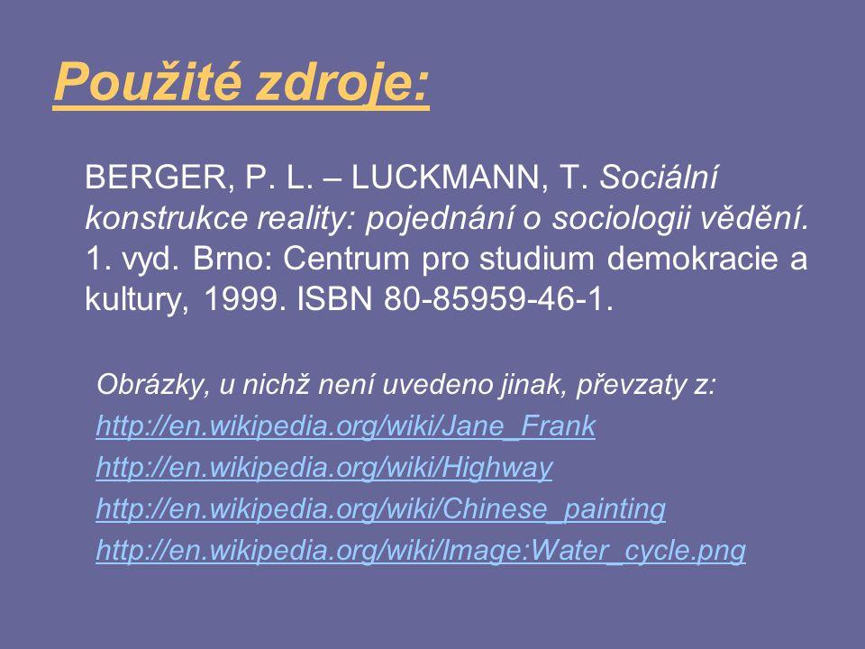 Použité zdroje: BERGER, P. L. – LUCKMANN, T. Sociální konstrukce reality: pojednání o sociologii vědění. 1. vyd. Brno: Centrum pro studium demokracie
