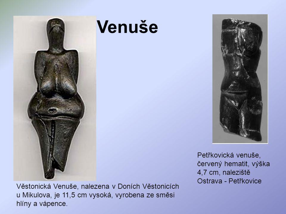 Venuše Věstonická Venuše, nalezena v Doních Věstonicích u Mikulova, je 11,5 cm vysoká, vyrobena ze směsi hlíny a vápence. Petřkovická venuše, červený