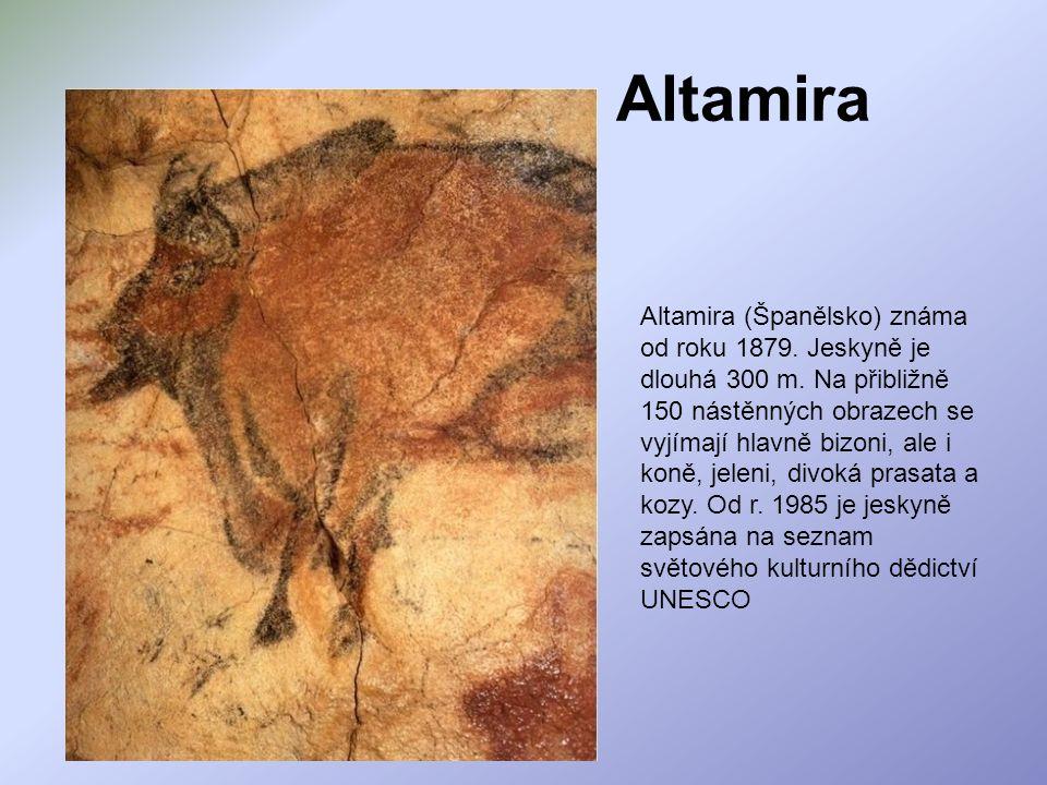 Altamira Altamira (Španělsko) známa od roku 1879. Jeskyně je dlouhá 300 m. Na přibližně 150 nástěnných obrazech se vyjímají hlavně bizoni, ale i koně,