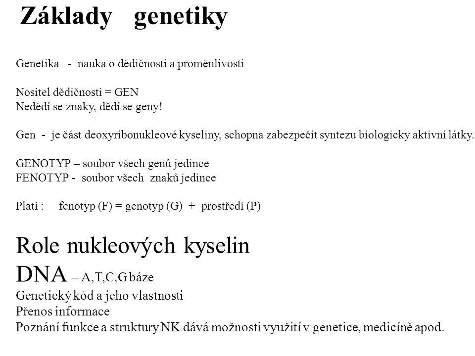 """Genetika na úrovni buňky DNA uložena v jádře buňky v chromosomu Soubor chromosomů tvoří KARYOTYP Počet chromosomů – typický pro druh haploidní """"n typický pro gametu diploidní """"2n typický pro tělní buňku TRI, TETRA,…POLYPLOID Odchylky počtu : porucha,nemoc, neplodnost Homologní chromosomy a heterochromosomy Jeden chromosom od otce, druhý od matky Na chromosomu lokus – místo, kde uložen gen Každý znak je podvojně založen Alela – forma gnu"""