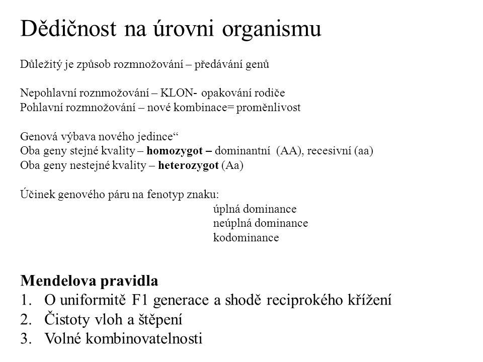 Dědičnost na úrovni organismu Důležitý je způsob rozmnožování – předávání genů Nepohlavní roznmožování – KLON- opakování rodiče Pohlavní rozmnožování – nové kombinace= proměnlivost Genová výbava nového jedince Oba geny stejné kvality – homozygot – dominantní (AA), recesivní (aa) Oba geny nestejné kvality – heterozygot (Aa) Účinek genového páru na fenotyp znaku: úplná dominance neúplná dominance kodominance Mendelova pravidla 1.O uniformitě F1 generace a shodě reciprokého křížení 2.Čistoty vloh a štěpení 3.Volné kombinovatelnosti