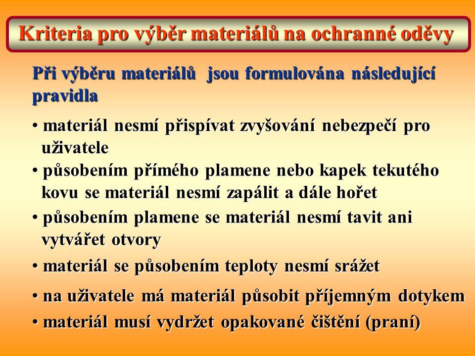 Kriteria pro výběr materiálů na ochranné oděvy Při výběru materiálů jsou formulována následující pravidla materiál nesmí přispívat zvyšování nebezpečí pro materiál nesmí přispívat zvyšování nebezpečí pro uživatele uživatele působením přímého plamene nebo kapek tekutého působením přímého plamene nebo kapek tekutého kovu se materiál nesmí zapálit a dále hořet kovu se materiál nesmí zapálit a dále hořet působením plamene se materiál nesmí tavit ani působením plamene se materiál nesmí tavit ani vytvářet otvory vytvářet otvory materiál se působením teploty nesmí srážet materiál se působením teploty nesmí srážet na uživatele má materiál působit příjemným dotykem na uživatele má materiál působit příjemným dotykem materiál musí vydržet opakované čištění (praní) materiál musí vydržet opakované čištění (praní)