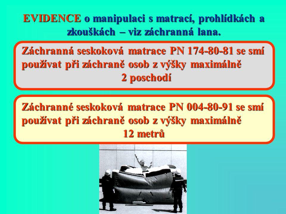 EVIDENCE o manipulaci s matrací, prohlídkách a zkouškách – viz záchranná lana. Záchranná seskoková matrace PN 174-80-81 se smí používat při záchraně o