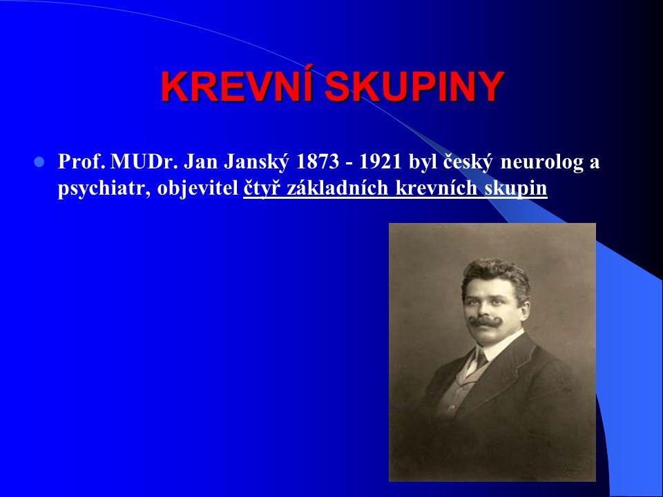KREVNÍ SKUPINY Prof. MUDr. Jan Janský 1873 - 1921 byl český neurolog a psychiatr, objevitel čtyř základních krevních skupin