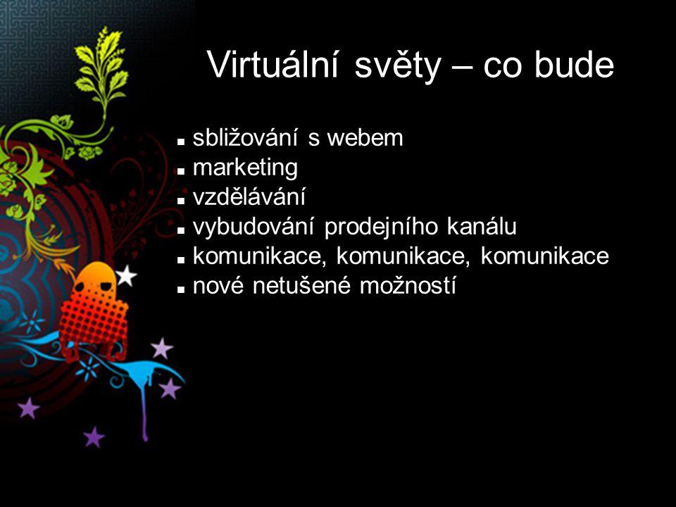 Virtuální světy – co bude sbližování s webem marketing vzdělávání vybudování prodejního kanálu komunikace, komunikace, komunikace nové netušené možností