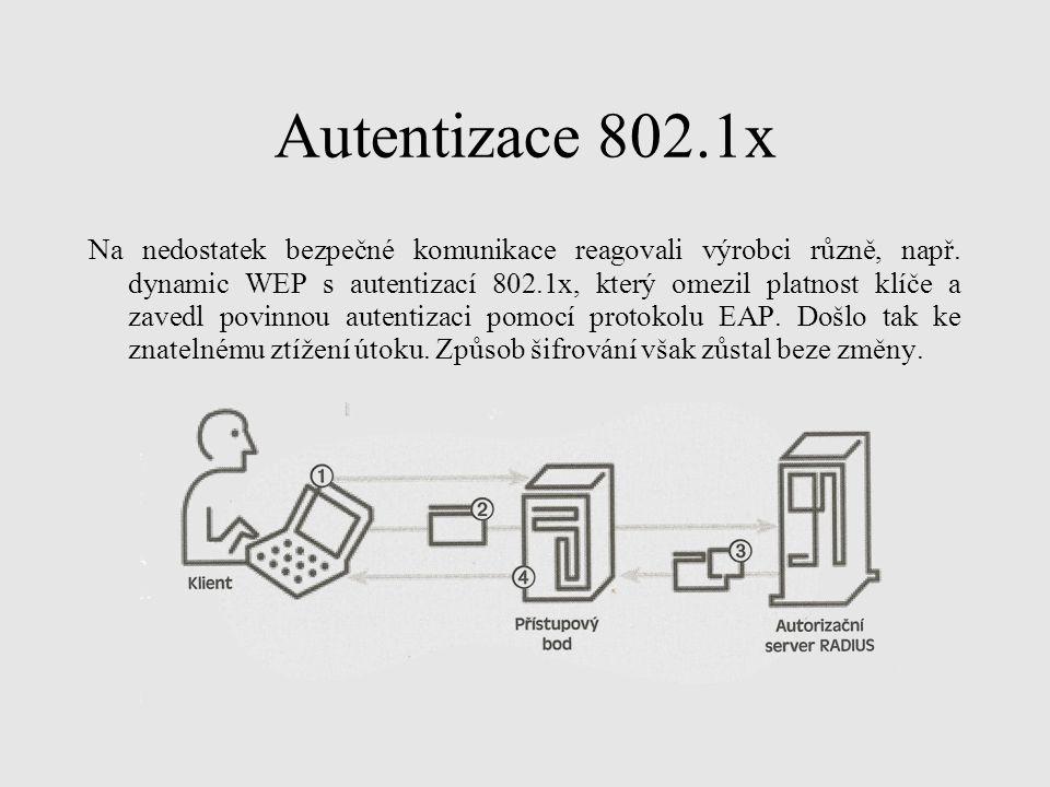 Autentizace 802.1x Na nedostatek bezpečné komunikace reagovali výrobci různě, např. dynamic WEP s autentizací 802.1x, který omezil platnost klíče a za