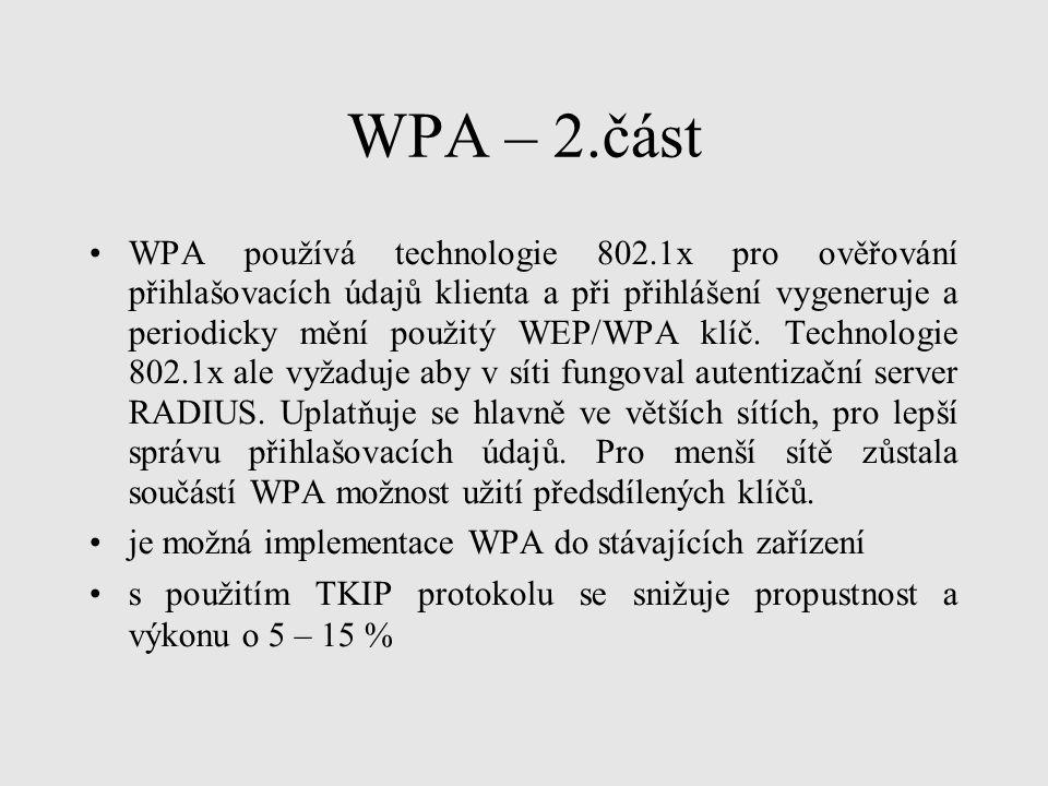 WPA – 2.část WPA používá technologie 802.1x pro ověřování přihlašovacích údajů klienta a při přihlášení vygeneruje a periodicky mění použitý WEP/WPA k