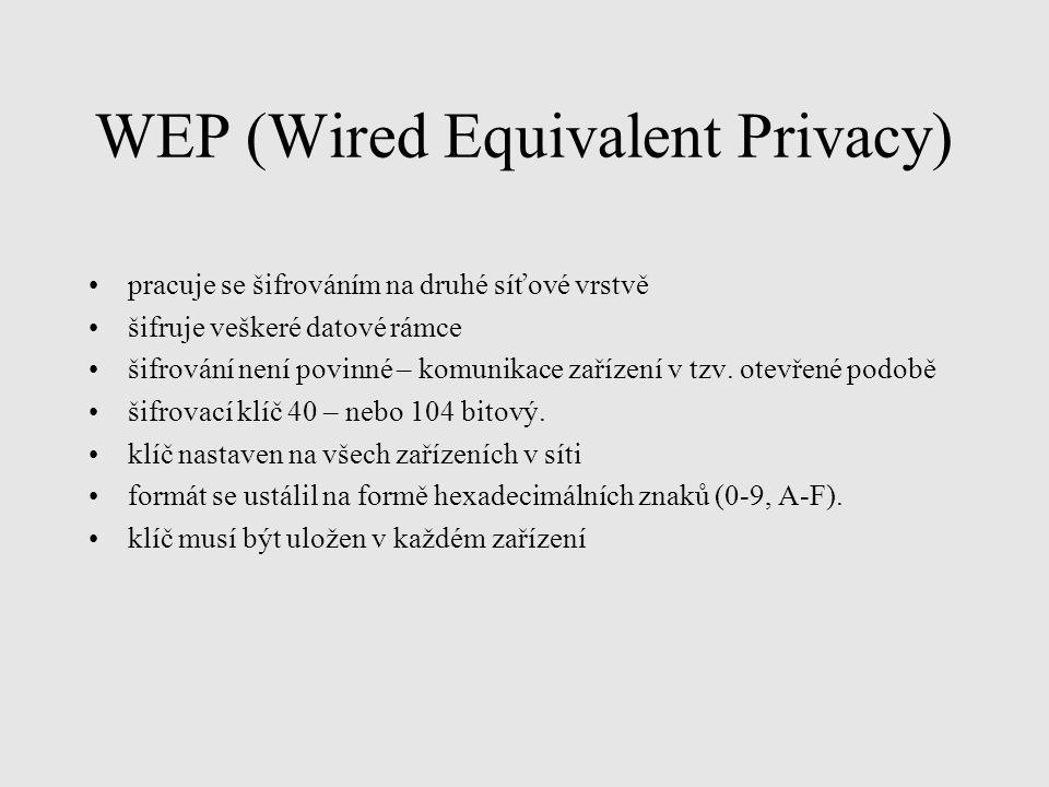 WEP (Wired Equivalent Privacy) pracuje se šifrováním na druhé síťové vrstvě šifruje veškeré datové rámce šifrování není povinné – komunikace zařízení