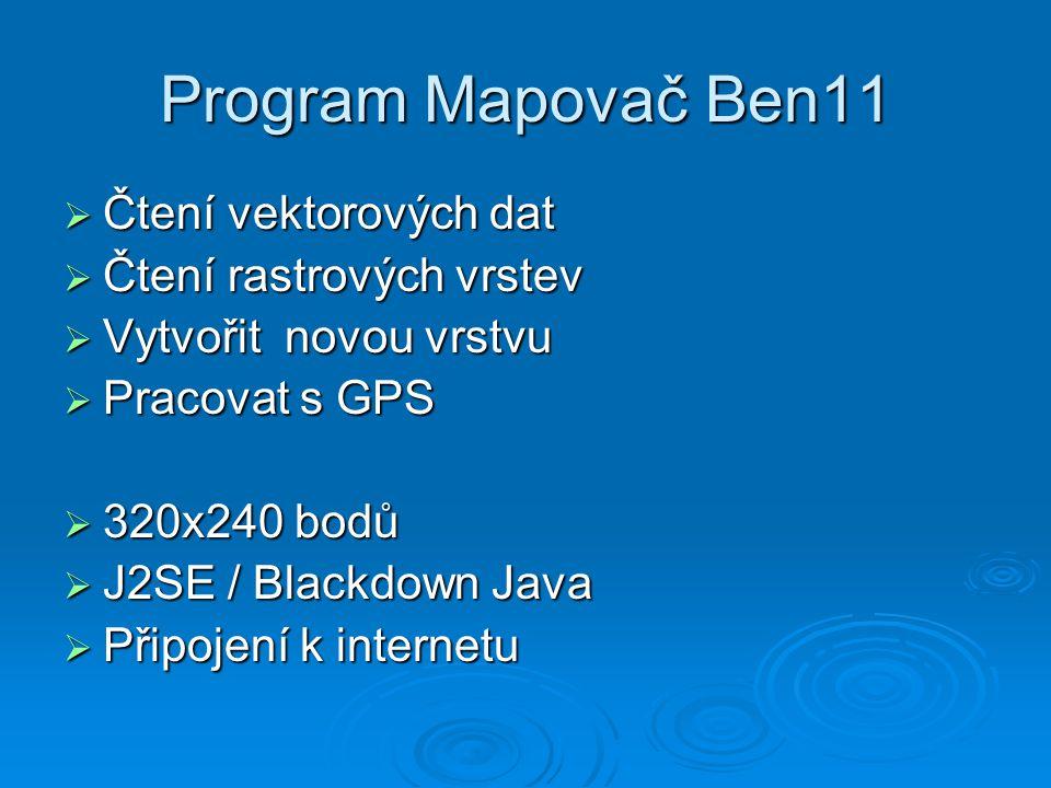 Program Mapovač Ben11  Čtení vektorových dat  Čtení rastrových vrstev  Vytvořit novou vrstvu  Pracovat s GPS  320x240 bodů  J2SE / Blackdown Java  Připojení k internetu