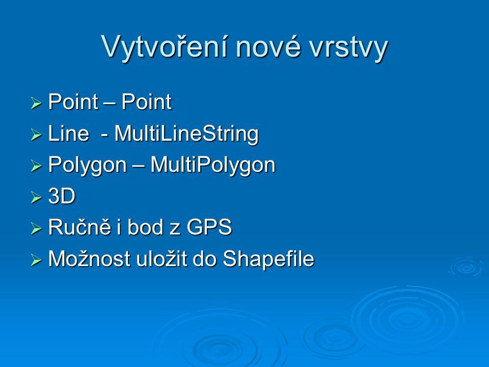 Vytvoření nové vrstvy  Point – Point  Line - MultiLineString  Polygon – MultiPolygon  3D  Ručně i bod z GPS  Možnost uložit do Shapefile