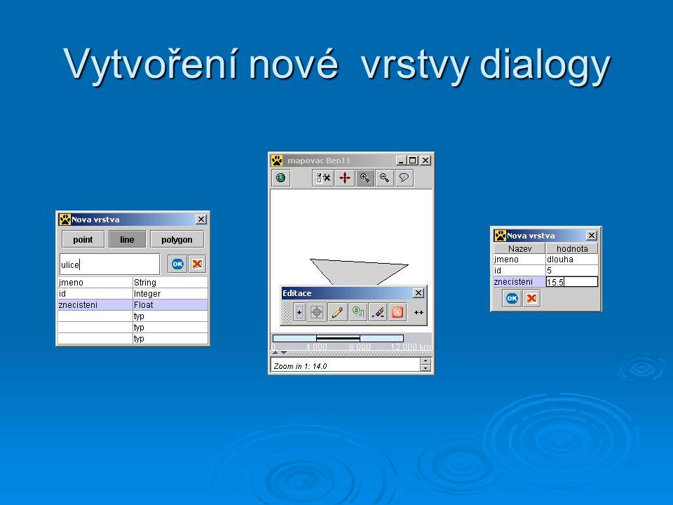 Vytvoření nové vrstvy dialogy
