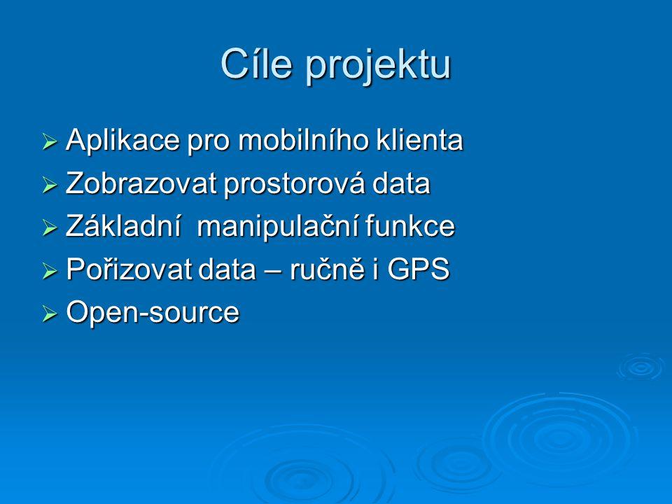 Cíle projektu  Aplikace pro mobilního klienta  Zobrazovat prostorová data  Základní manipulační funkce  Pořizovat data – ručně i GPS  Open-source