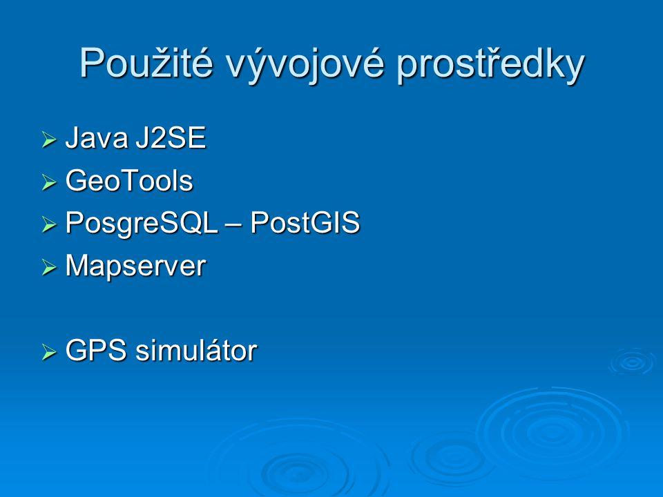 Použité vývojové prostředky  Java J2SE  GeoTools  PosgreSQL – PostGIS  Mapserver  GPS simulátor