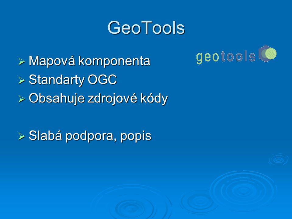 PostGIS   Rozšíření PostgreSQL   Umožnuje ukládat a číst prostorová data   Základní funkce pro analýzu   Aktuální verze 1.0.0   Lin i Win platforma od verze 7.5   PostgreSQL 8.0.x má rozšíření PostGIS