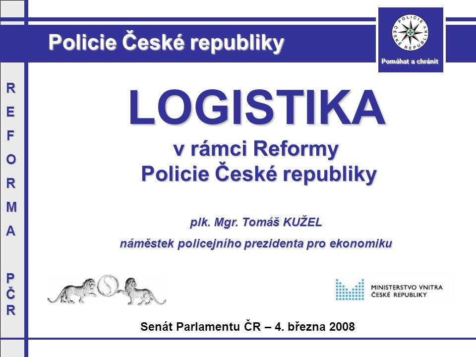 Policie České republiky Pomáhat a chránit REFORMAPČRREFORMAPČR Nákup služebních dopravních prostředků  Realizace v průběhu let 2008 - 2011  Plánovaný finanční objem - 1,4 mld.