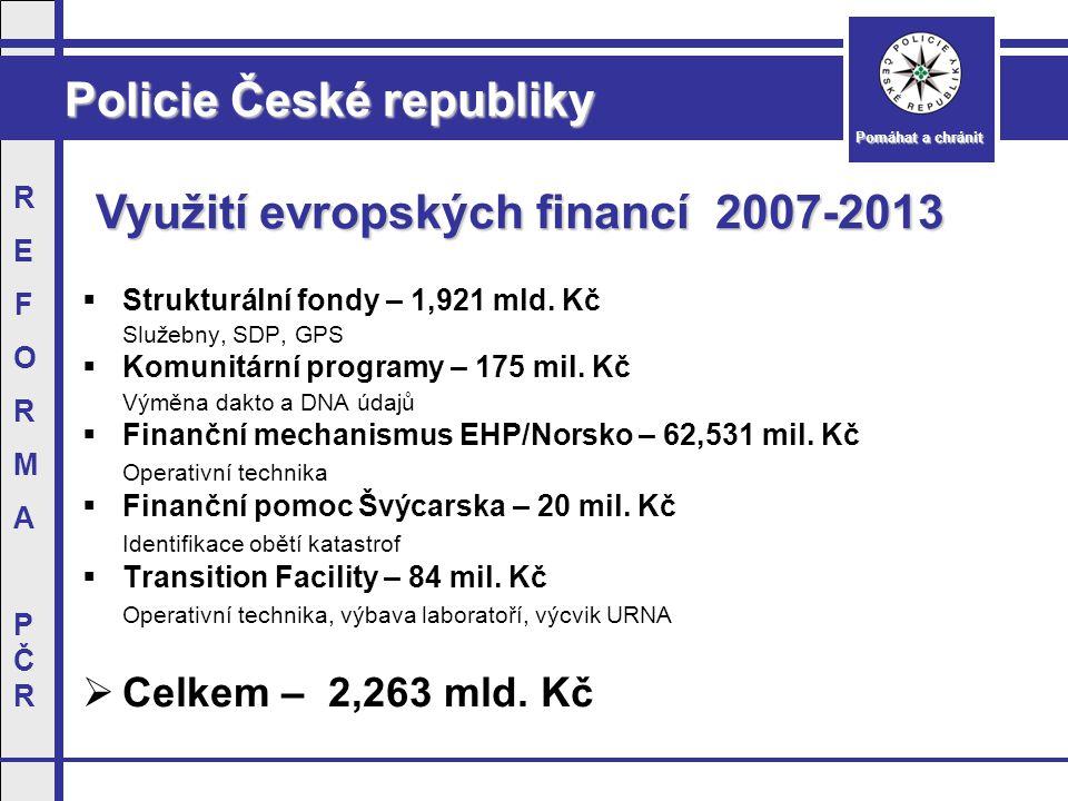 Policie České republiky Pomáhat a chránit REFORMAPČRREFORMAPČR Využití evropských financí 2007-2013  Strukturální fondy – 1,921 mld.