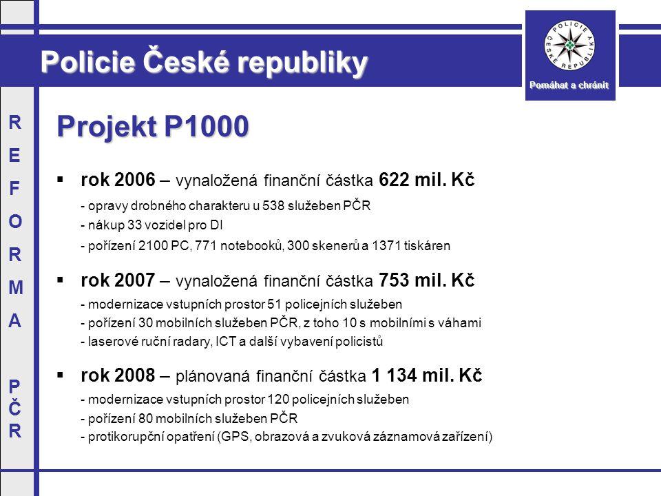 Policie České republiky Pomáhat a chránit REFORMAPČRREFORMAPČR Projekt P1000  rok 2006 – vynaložená finanční částka 622 mil.