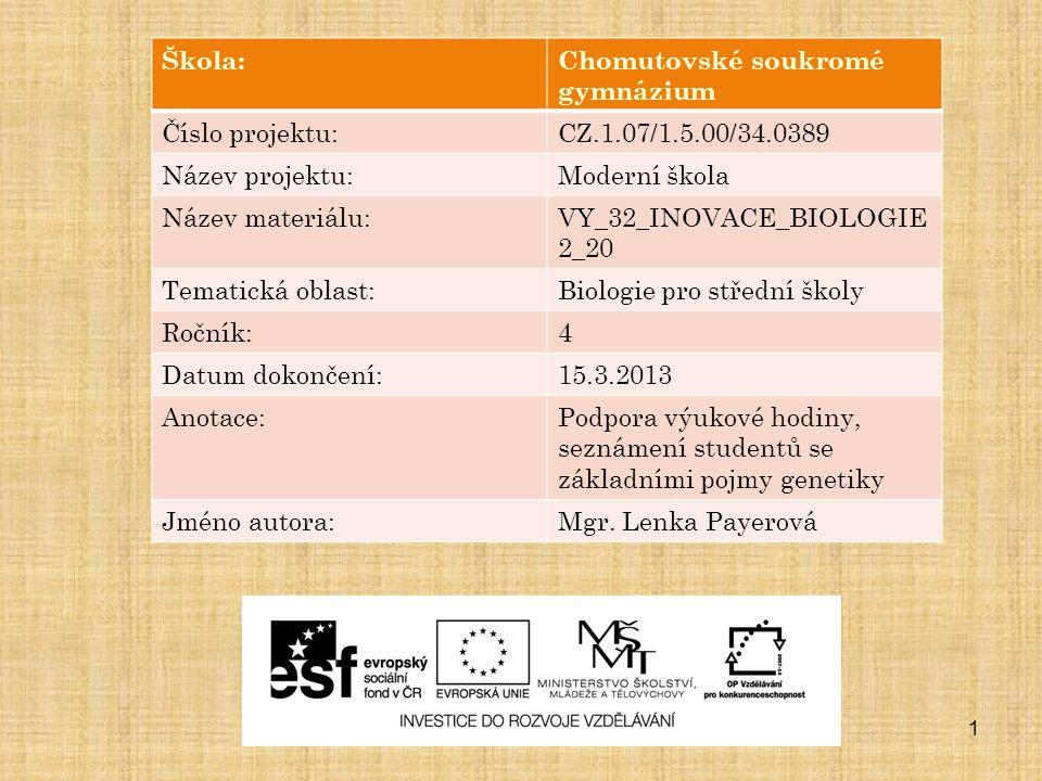 1 Škola:Chomutovské soukromé gymnázium Číslo projektu:CZ.1.07/1.5.00/34.0389 Název projektu:Moderní škola Název materiálu:VY_32_INOVACE_BIOLOGIE 2_20 Tematická oblast:Biologie pro střední školy Ročník:4 Datum dokončení:15.3.2013 Anotace:Podpora výukové hodiny, seznámení studentů se základními pojmy genetiky Jméno autora:Mgr.