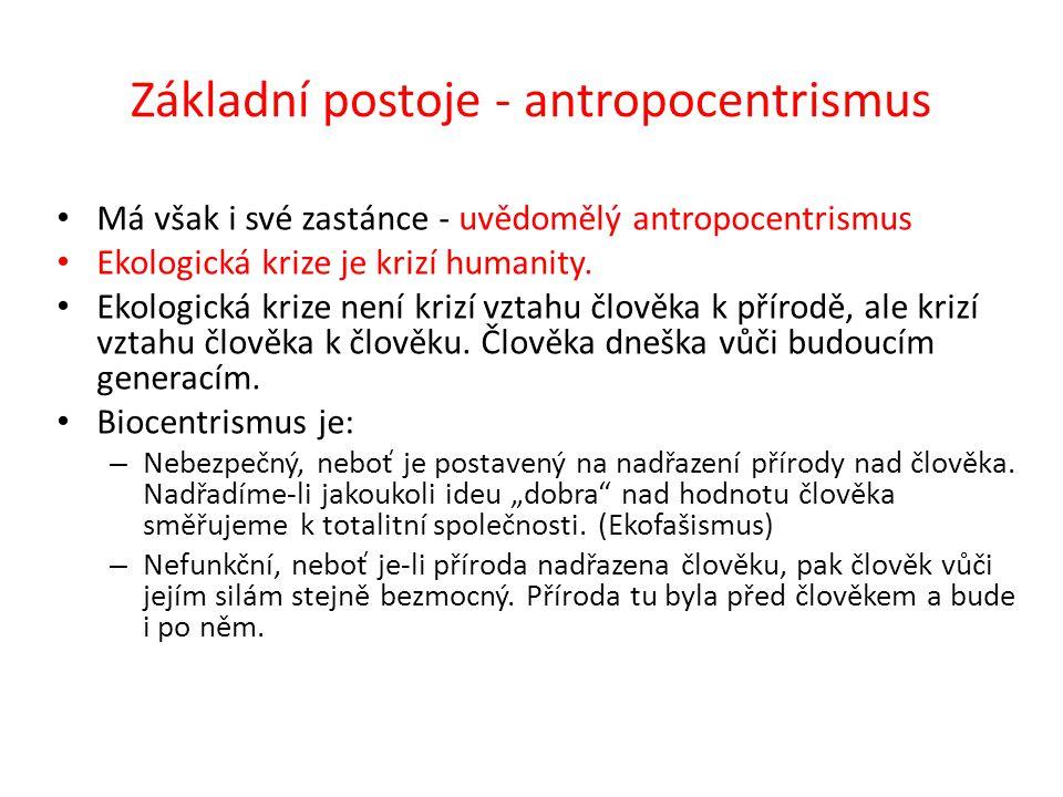 Základní postoje - antropocentrismus Má však i své zastánce - uvědomělý antropocentrismus Ekologická krize je krizí humanity.