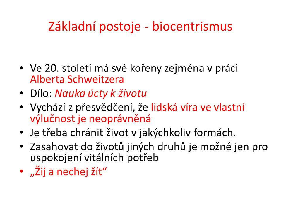 Základní postoje - biocentrismus Ve 20.