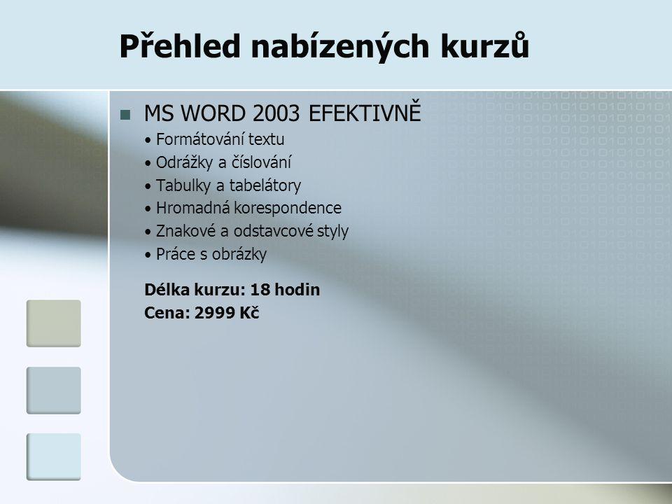 Přehled nabízených kurzů MS WORD 2003 EFEKTIVNĚ Formátování textu Odrážky a číslování Tabulky a tabelátory Hromadná korespondence Znakové a odstavcové