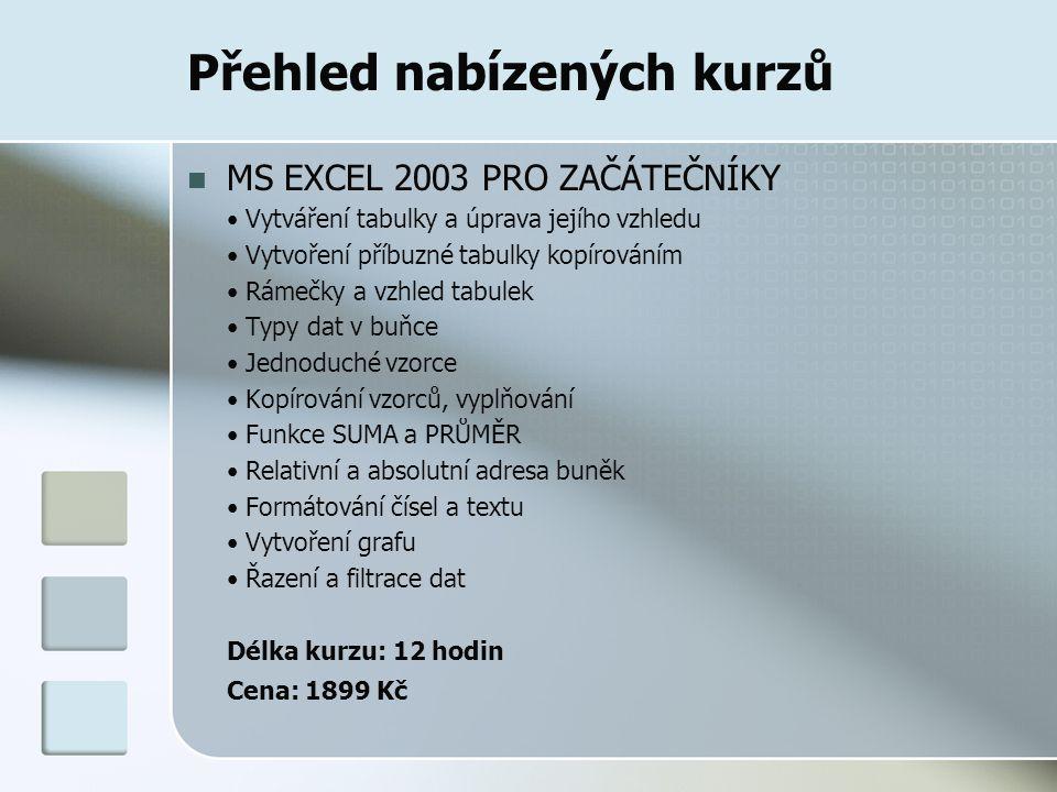 Přehled nabízených kurzů MS EXCEL 2003 PRO ZAČÁTEČNÍKY Vytváření tabulky a úprava jejího vzhledu Vytvoření příbuzné tabulky kopírováním Rámečky a vzhl