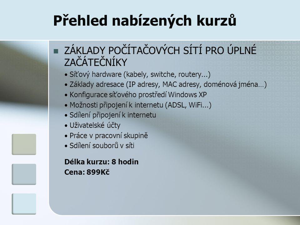 Přehled nabízených kurzů ZÁKLADY POČÍTAČOVÝCH SÍTÍ PRO ÚPLNÉ ZAČÁTEČNÍKY Síťový hardware (kabely, switche, routery...) Základy adresace (IP adresy, MAC adresy, doménová jména…) Konfigurace síťového prostředí Windows XP Možnosti připojení k internetu (ADSL, WiFi...) Sdílení připojení k internetu Uživatelské účty Práce v pracovní skupině Sdílení souborů v síti Délka kurzu: 8 hodin Cena: 899Kč