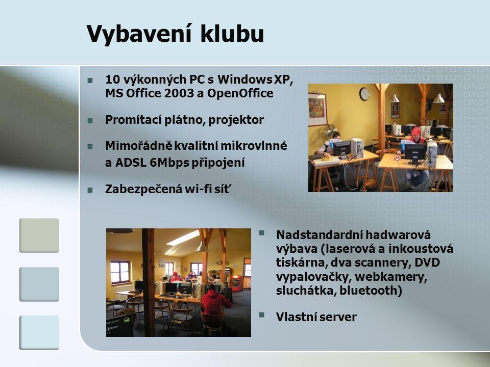 Vybavení klubu  Nadstandardní hadwarová výbava (laserová a inkoustová tiskárna, dva scannery, DVD vypalovačky, webkamery, sluchátka, bluetooth)  Vlastní server 10 výkonných PC s Windows XP, MS Office 2003 a OpenOffice Promítací plátno, projektor Mimořádně kvalitní mikrovlnné a ADSL 6Mbps připojení Zabezpečená wi-fi síť