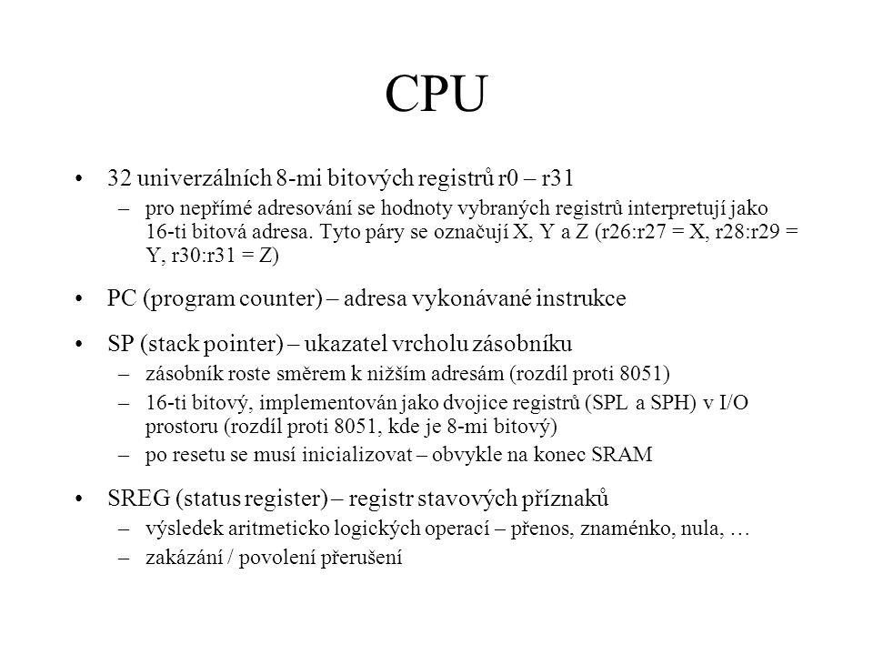 CPU 32 univerzálních 8-mi bitových registrů r0 – r31 –pro nepřímé adresování se hodnoty vybraných registrů interpretují jako 16-ti bitová adresa. Tyto