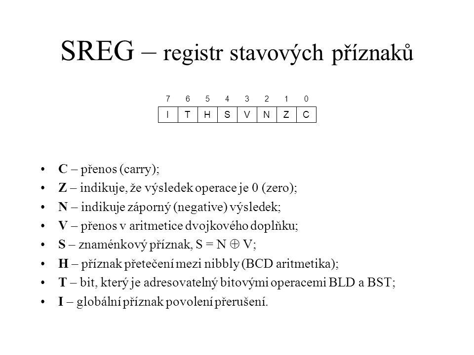 SREG – registr stavových příznaků CZNHTI 01256734 VS C – přenos (carry); Z – indikuje, že výsledek operace je 0 (zero); N – indikuje záporný (negative
