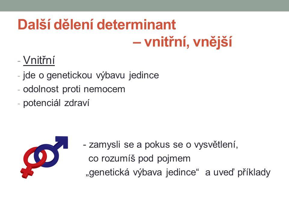 Další dělení determinant – vnitřní, vnější - Vnitřní - jde o genetickou výbavu jedince - odolnost proti nemocem - potenciál zdraví - zamysli se a poku