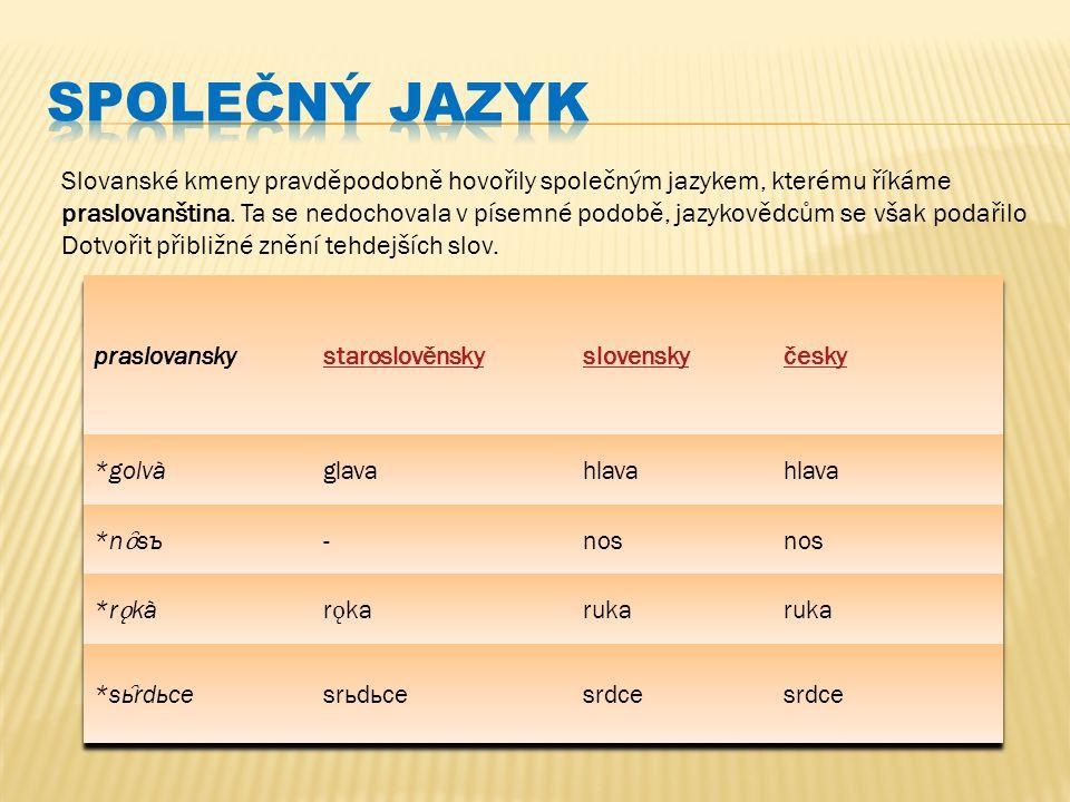 Slovanské kmeny pravděpodobně hovořily společným jazykem, kterému říkáme praslovanština. Ta se nedochovala v písemné podobě, jazykovědcům se však poda