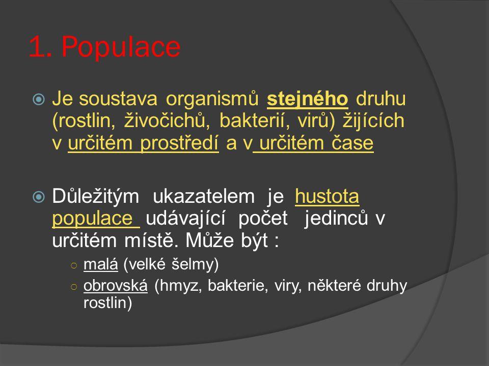 1. Populace  Je soustava organismů stejného druhu (rostlin, živočichů, bakterií, virů) žijících v určitém prostředí a v určitém čase  Důležitým ukaz