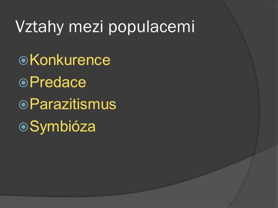 Vztahy mezi populacemi  Konkurence  Predace  Parazitismus  Symbióza