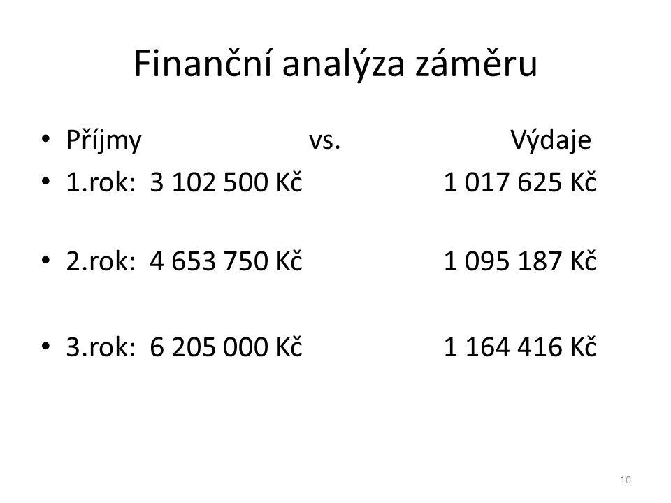 Finanční analýza záměru Příjmy vs.
