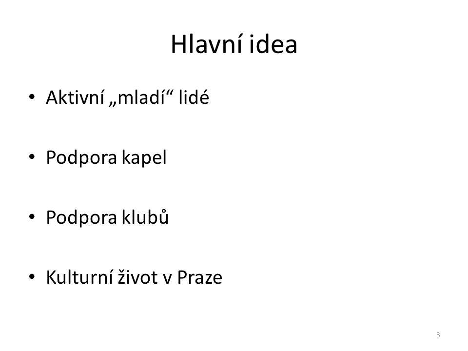 """Hlavní idea Aktivní """"mladí lidé Podpora kapel Podpora klubů Kulturní život v Praze 3"""