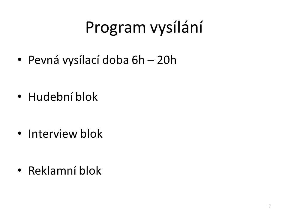 Program vysílání Pevná vysílací doba 6h – 20h Hudební blok Interview blok Reklamní blok 7