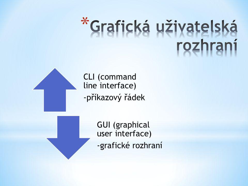 CLI (command line interface) -příkazový řádek GUI (graphical user interface) -grafické rozhraní