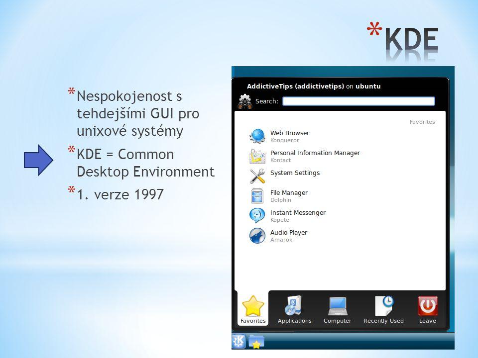 * Nespokojenost s tehdejšími GUI pro unixové systémy * KDE = Common Desktop Environment * 1. verze 1997