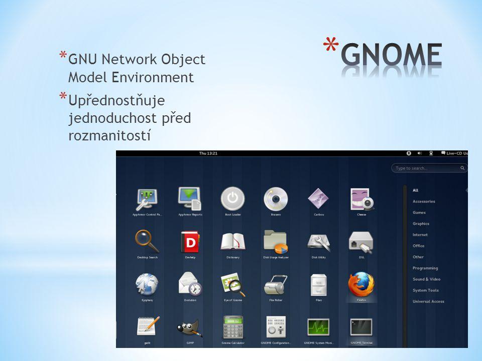 * GNU Network Object Model Environment * Upřednostňuje jednoduchost před rozmanitostí