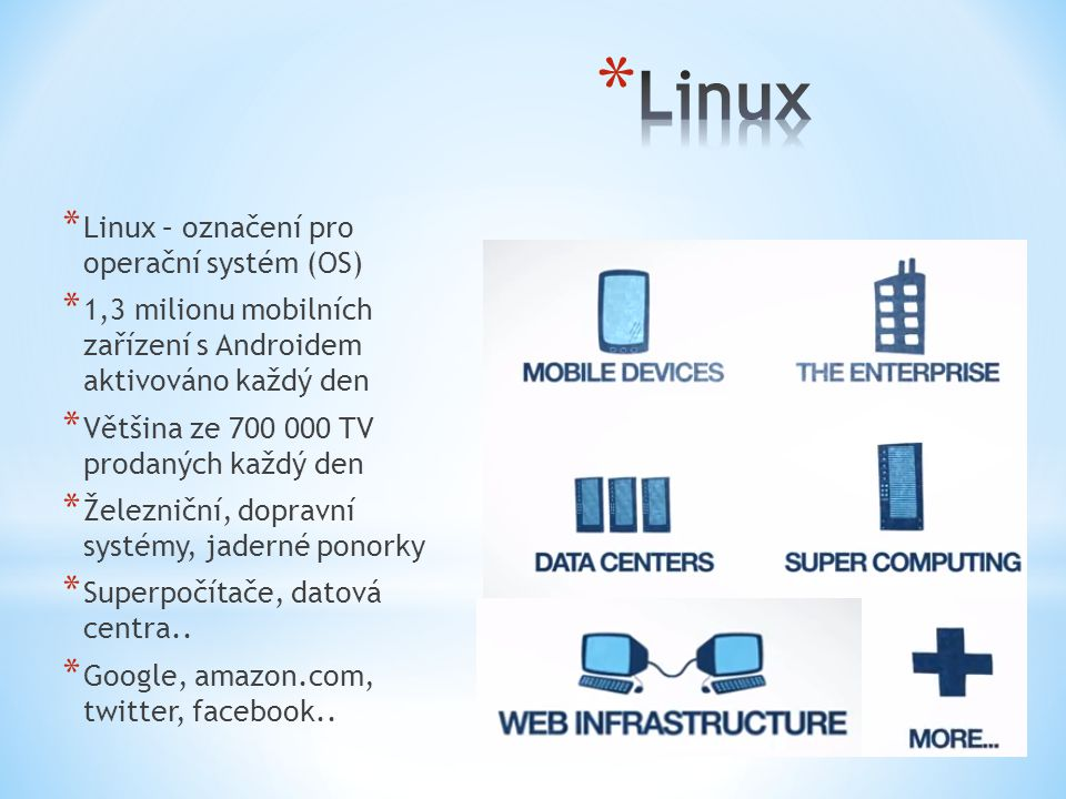 * Linux – označení pro operační systém (OS) * 1,3 milionu mobilních zařízení s Androidem aktivováno každý den * Většina ze 700 000 TV prodaných každý
