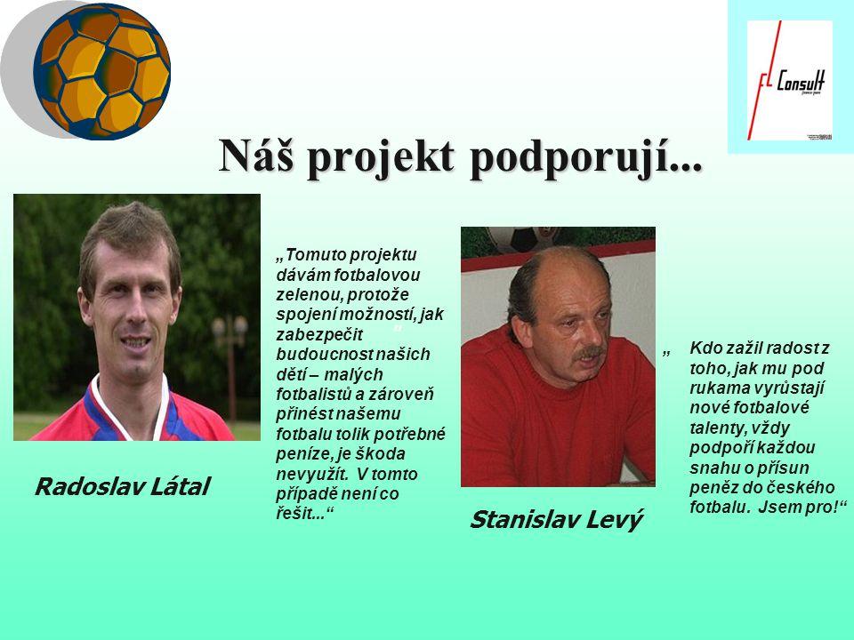 """Náš projekt podporují... """"Tomuto projektu dávám fotbalovou zelenou, protože spojení možností, jak zabezpečit budoucnost našich dětí – malých fotbalist"""