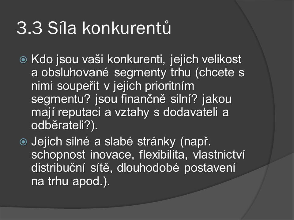 3.3 Síla konkurentů  Kdo jsou vaši konkurenti, jejich velikost a obsluhované segmenty trhu (chcete s nimi soupeřit v jejich prioritním segmentu? jsou