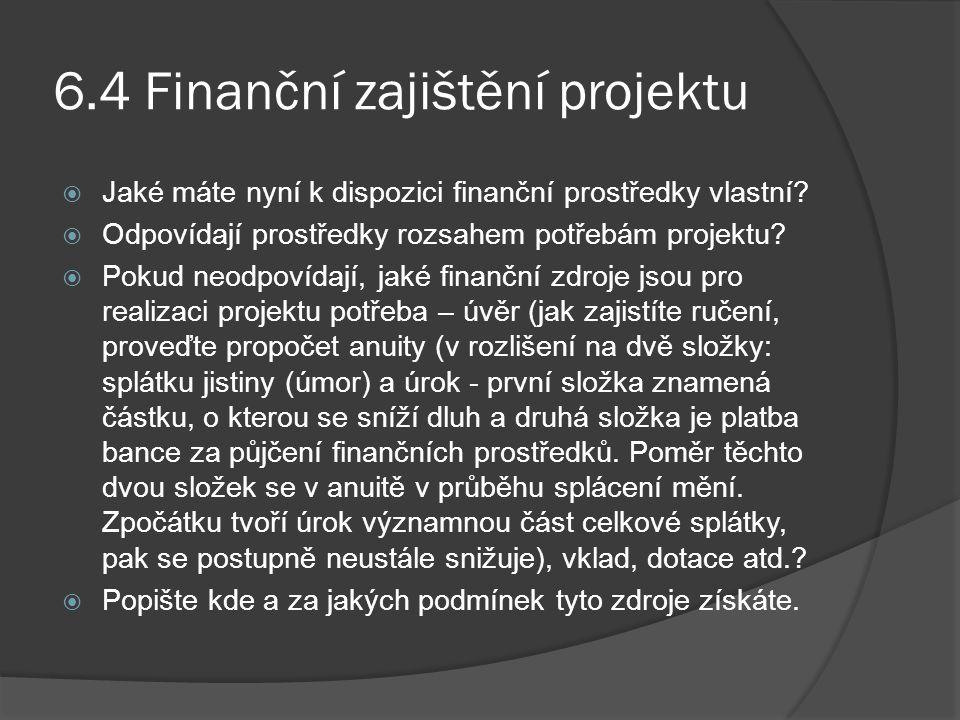 6.4 Finanční zajištění projektu  Jaké máte nyní k dispozici finanční prostředky vlastní?  Odpovídají prostředky rozsahem potřebám projektu?  Pokud