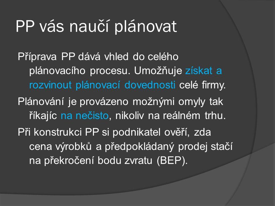 PP vás naučí plánovat Příprava PP dává vhled do celého plánovacího procesu. Umožňuje získat a rozvinout plánovací dovednosti celé firmy. Plánování je